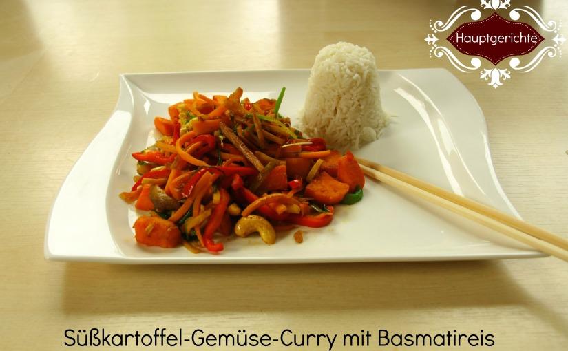 ein Schmaus für Mund und Auge: Süßkartoffel-Gemüse-Curry mitBasmatireis