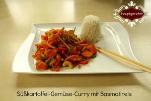 Süßkartoffel-Gemüse-Curry mit Basmatireis